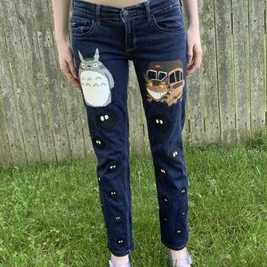 Hand Painted Totoro Jeans